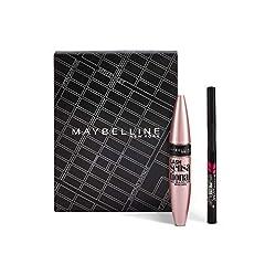 Idea Regalo - Maybelline New York Cofanetto Regalo Donna Natale, Include Mascara Ciglia Sensazionali Volumizzante e Eyeliner Hyper Precise di Colore Nero