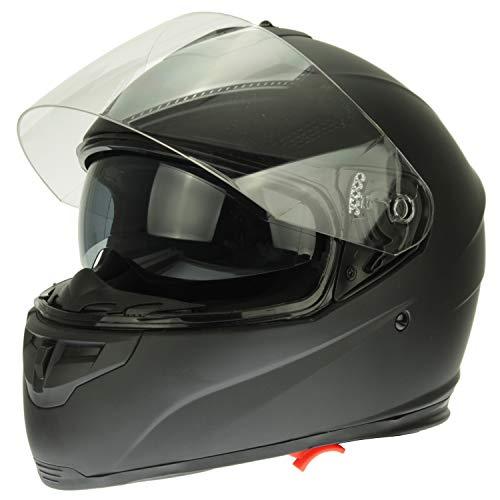 Mach1 Integralhelm Helm Motorradhelm mit Integrierter Sonnenblende ECE R 22.05 Größe XS bis XXL - Schwarz-Matt