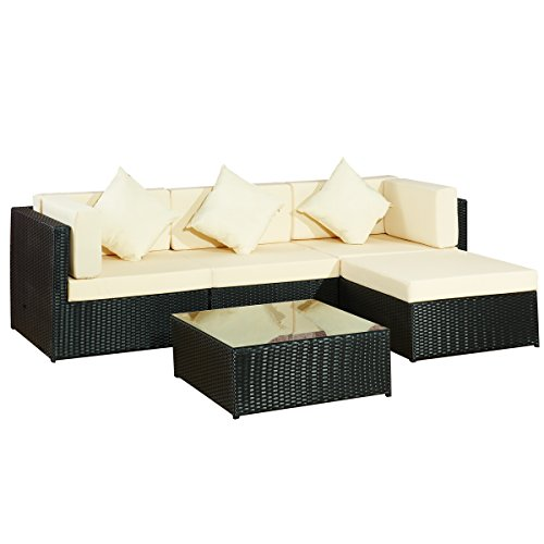 Garten Lounge Moebel Bergen II schwarz-beige aus Stahl Rattan ...