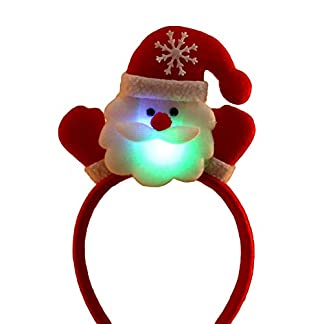 osmanthusFrag Navidad Unisex Santa Bear Muñeco De Nieve Luminous Hair Hoop Diadema Accesorios Headwear Gift