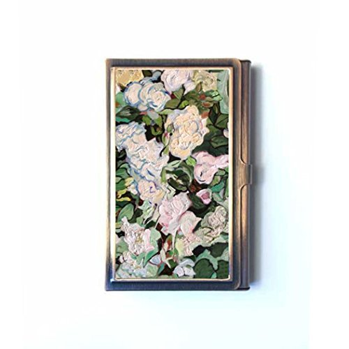 vincent-van-gogh-roses-custom-fashion-image-business-name-card-holder-bronze-stainless-steel-box-cas