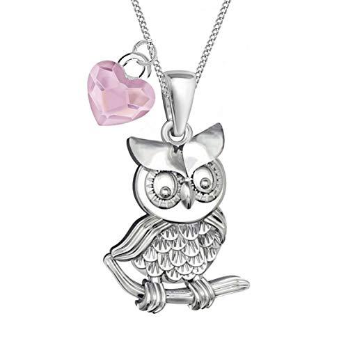 Eule mit Herz verziert mit Kristallen von Swarovski® Anhänger + Halskette 925 Echt Silber Damen Mädchen Kinder (Rosa + Kette 40cm)