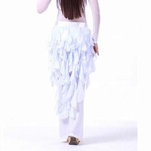um Bauchtanzen, für Damen, Schal/Gürtel/Rock, lateinamerikanischer Tanz, Rock mit Quasten Gr. Einheitsgröße, weiß (Dance Kostüme Dance Recital)