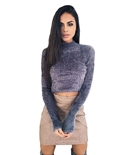 Alaix Damen Sexy Fluffy Mohair bauchfreies Knit Crop Top Pullover Jumper,Grau