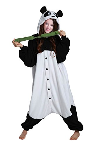BRLMALL Adult-sized Unisex Kung Fu Panda with Bamboo Pyjamas Halloween Onesie Costume