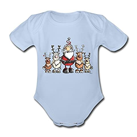 Santa Claus With Reindeer Organic Short-sleeved Baby Bodysuit by Spreadshirt®,
