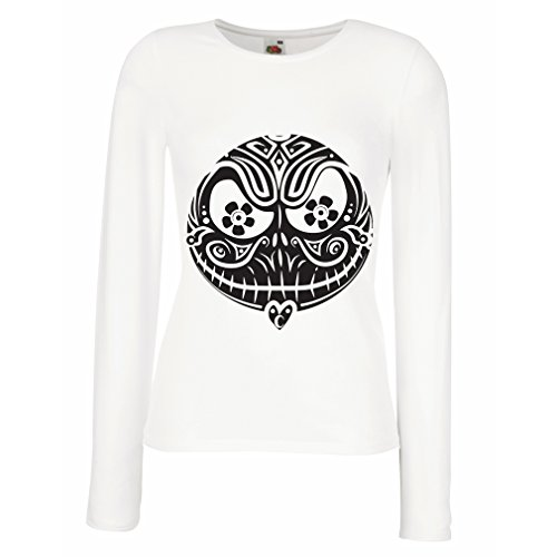 Weibliche Langen Ärmeln T-Shirt Das Schädel-Gesicht - Der Alptraum - gruselige Halloween-Nacht (Small Weiß Mehrfarben) (Skyrim Sale Halloween)