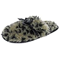 Capelli New York Ladies Leopard Printed Slippers with Bow Trim White Size: L