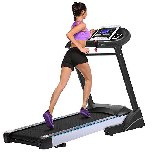 mymotto Tappeto di Corsa Elettrico Tapis roulant Fitness Pieghevole, con 5LCD Schermo 1-16.8KM/H, Exercise Equipment Camminare in Corrente capacità di carico 130kg, Macchina per Gym Casa