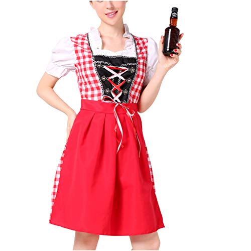 Fannyfuny Cocktail Kleider Maid Dress Damen Oktoberfest Kostüm Bayerische Kurzarm Trachtenkleid Mädchen Cosplay Bayerisches Dirndl Kleid Halloween Kostüm/Dienstmädchen Kostüm Blau Rot M,XL