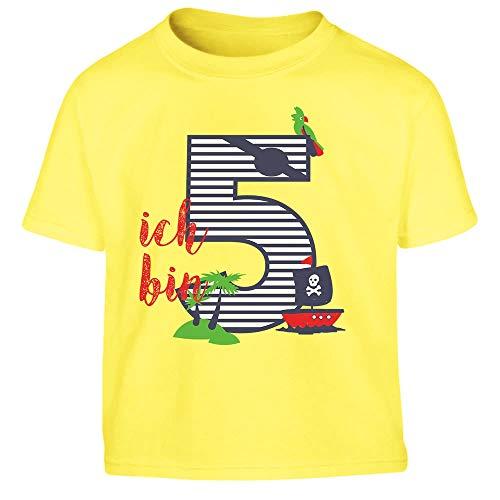 (Shirtgeil Ich bin Fünf Geschenk Geburtstag Kleinkind Kinder T-Shirt - Gr. 86-116 106/116 (5-6J) Gelb)