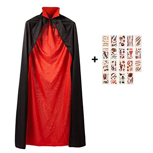 Tod Umhang, Teufel Kostüm Samt Cape, Cosplay Kleidung für Halloween und Karneval Party, Schwarze + Rot Reversible Doppeldeck 145cm mit 19 Pcs Temporäre Tattoos ()