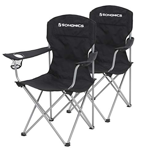 SONGMICS NO Campingstuhl, 2er-Set, klappbar, komfortabel, Klappstuhl mit robustem Gestell, bis 150 kg belastbar, mit Flaschenhalter, Outdoor Stuhl, schwarz GCB08BK, XL