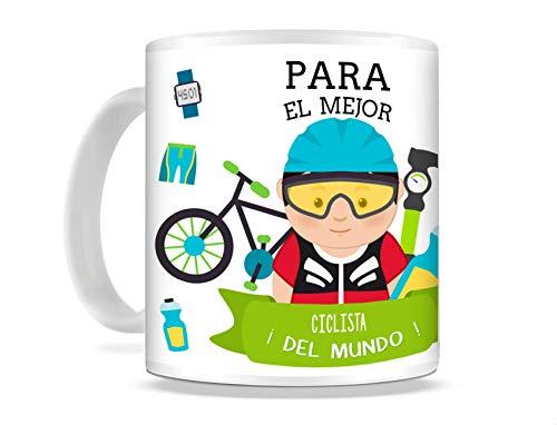 REGALOS ESTRELLA AZUL Taza de Desayuno Original para Regalar al Mejor Deportista Taza con Frases y Mensajes Divertidos y alegres Deporte, Regalos para Deportistas (Ciclista (él))