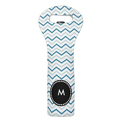 Unbekannt Neopren-Weinflaschentasche, Aqua Blue Chevron Monogramm Hochzeit Wein Personalisierte Isolierte Weinflasche Handtasche Weinzubehör - Personalisierte Wein-kühler