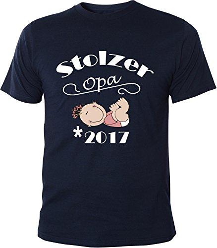 Mister Merchandise Herren Men T-Shirt Stolzer Opa - 2017 Tee Shirt bedruckt Navy