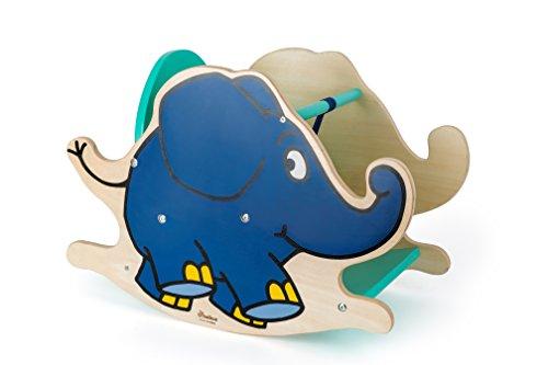 """Small Foot Design 10819 Schaukeltier aus Holz in Form des Elefanten aus """"Die Sendung mit der Maus"""", feste Rückenlehne und niedrige Sitzhöhe für sicheres Schaukeln, schult Motorik und Koordination"""