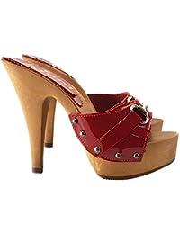 kiara shoes Zoccoli Rossi in Pelle con Accessorio Tacco 13 cm  K93013-ROSSO-VERN 5d307e91a9b