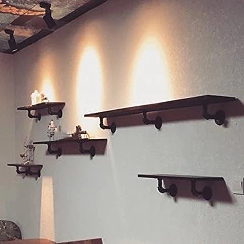 Paredes estante de la pared del estante creativo retro de tableros de madera maciza colgar de la pared del estante de hierro Palabra Andamio estante de libro ( Tamaño : XS