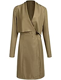 Damen Mantel Trenchcoat Coat Lang Elegant Jacke Langarm Tasche Outwear  Schwarz Khaki 5b243558d9