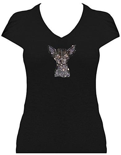 BlingelingShirts Shirt mit Hund Damen Strass Shirt Chihuahua Kleiner Süsser Hund, T-Shirt, Grösse XL, Schwarz - Chihuahua-schwarzes T-shirt