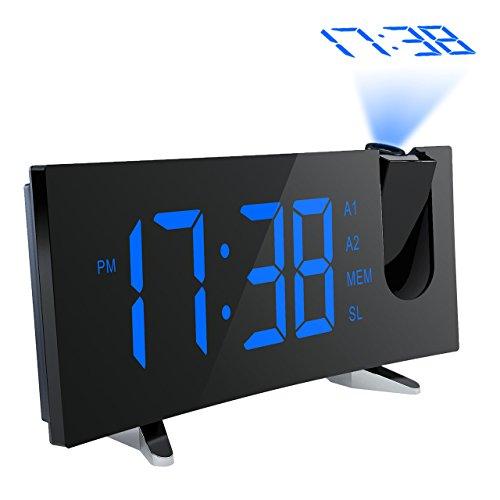 Pictek Projektionswecker, FM Radiowecker 5'' große LED-Anzeige digitaler Wecker Uhr Uhrenradio Lichtwecker mit 180° Flip-Projektionsanzeige Projektion, Snooze, Dual-Alarm, USB-Ladeanschluss usw - Blau