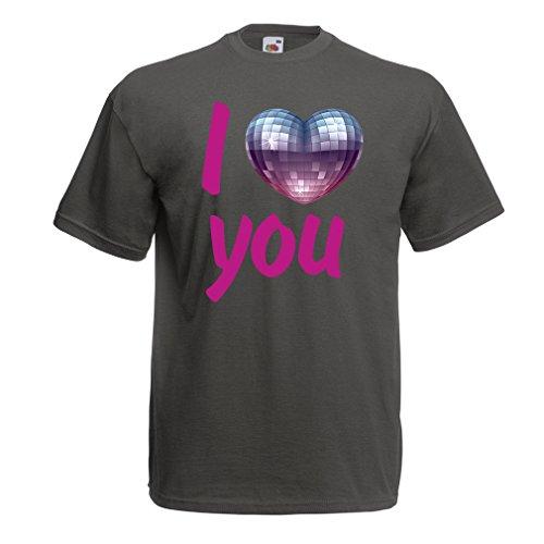 """lepni.me Männer T-ShirtIch Liebe Dich- Discokugel Herz"""" Kleidung der 80-Er Jahre, Valentinstag Geschenke (XXX-Large Graphit Mehrfarben)"""