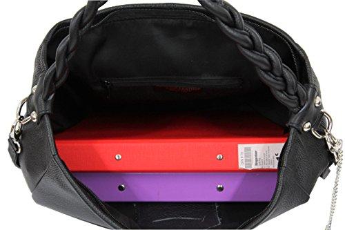 AMBRA Moda Damen echt Ledertasche Handtasche Schultertasche Beutel Shopper Umhängtasche GL009 Anthrazit