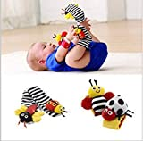 Op.h 4PCS Cute Ladybug Animal Soft Baby Socks Wrist Rattle and Ankle Fun Suit