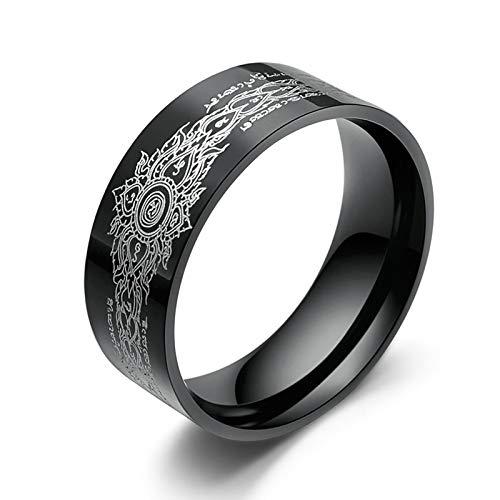Aeici 8MM Ring Herren Edelstahl Schwarz Ring Graviertes Buddhistisches Muster Eheringe Edelstahl 57 (18.1) Ringe Schwarz (Ring Master Adult Kostüm)