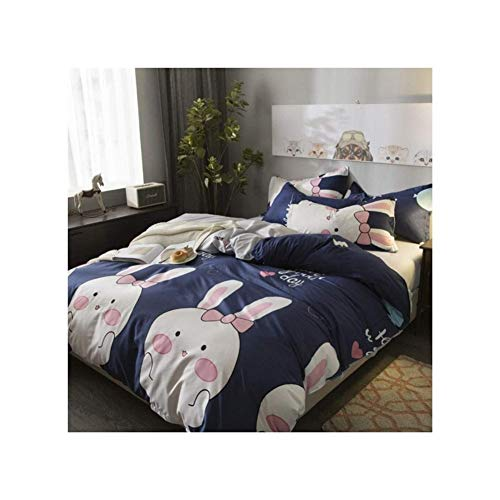 Blue Rabbit Bettbezüge Bettwäsche Set Modern Simple Bettbezug Set Double King Size Bettwäsche, White Rabbit (Size : 1.2m) (Bettwäsche Bettbezug King White)