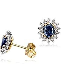 Goldmaid - Boucles d'Oreilles Femme - Or jaune 585 - Saphir bleu - Fa O455GGB