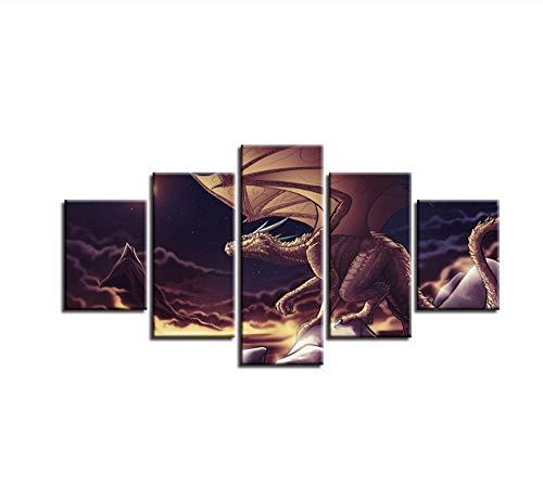 NIUYHFU Poster Modulare Leinwandbilder Wandkunst Moderne 5 Stücke Drachen Gemälde Dekor Für Zuhause Wohnzimmer Rahmen Abstrakte HD Drucke -