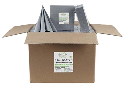 Sensalux Gastro-Servietten Karton, 32 x 50 Stück, grau, 3-lagig 1/4-Falz 33 cm x 33 cm, 1600 STK Servietten, hochwertige Servietten, ideal für Partys, Hochzeiten, Geburtstage