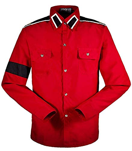 Michael Jackson Herren Kinder Shirt MJ Professional Cosplay Michael Jackson Kostüm CTE Style Shirt für MJ Fans Weiß Schwarz ROT Farben Hemd (XS, Rot)