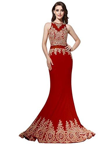 Sarahbridal Damen Cocktail Kleid Rot