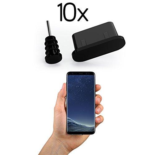 innoGadgets 10x Staubschutz Stöpsel kompatibel mit Smartphone, MacBook, iPad Pro 2018 | USB-C Staubstecker, Schutz für jeden USB-C Anschluss - Samsung Galaxy S8 S9 S10 | Silikon Staubstöpsel | Schwarz