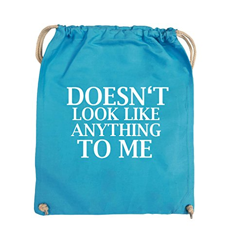 Comedy Bags - DOESN'T LOOK LIKE ANYTHING TO ME - Turnbeutel - 37x46cm - Farbe: Schwarz / Pink Hellblau / Weiss