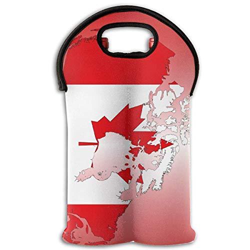 Cana Maple Flag Two Bottle Wine Carrier Tote Bag Neoprene Wine/Water Bottle Holder Keeps Bottles Protected Two Bottle Tote