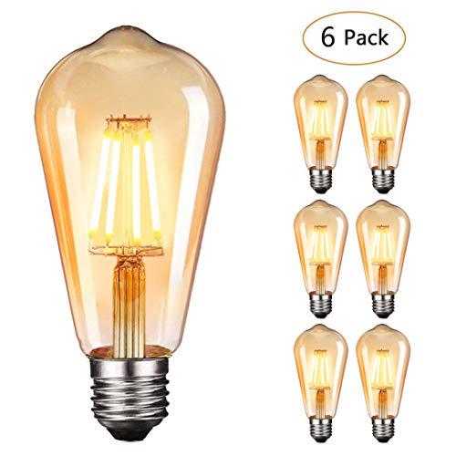 age Glühbirne Edison LED Lampe Warmweiß E27 Retro Glühbirne Vintage Antike Glühbirne Ideal für Nostalgie und Retro Beleuchtung im Haus Café Bar usw(ST64,6 PACK)[Energieklasse A+] ()