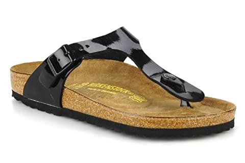 Ladies Birkenstock GIZEH Flat Thong Sandals with Adjustable strap For Perfect Fit (Regular width) (43 EU, Black