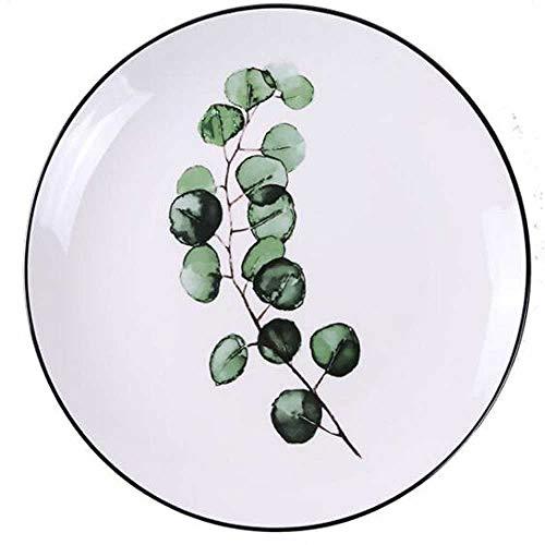 SHUIZAI Plates Green Plants Ceramic Plates Dinner Porzellan Dessert Beef Beef Dish Fruit Plate Cake Tray Lebensmittel Keramik-Tischware Square/Plaque en Acier R2 Green Square Dinner Plate