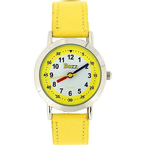 BOXX Ausgefallene, analoge Easy Read Mädchen Armbanduhr mit weißem Ziffernblatt und gelbem Textilarmband
