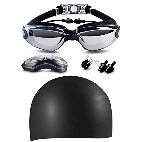 eujiancai Swim Goggles & Silicone Long Hair Swim Cap Set, No Leaking Anti Fog UV Protection for Men Women Adult Youth Kids, Waterproof, Triathlon Goggle with Free Protection Case (Black)