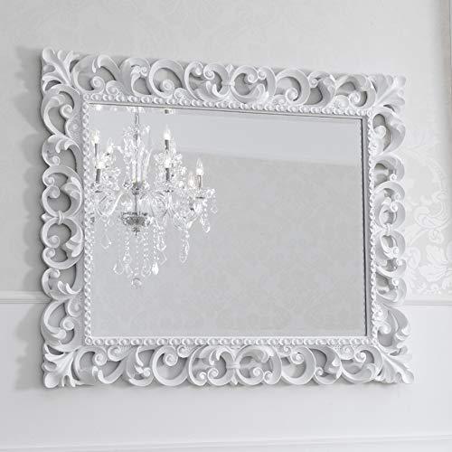Simone Guarracino Specchiera Zaafira Stile Barocco Cornice Traforata Bianco Laccato Specchio molato cm 107 x 87