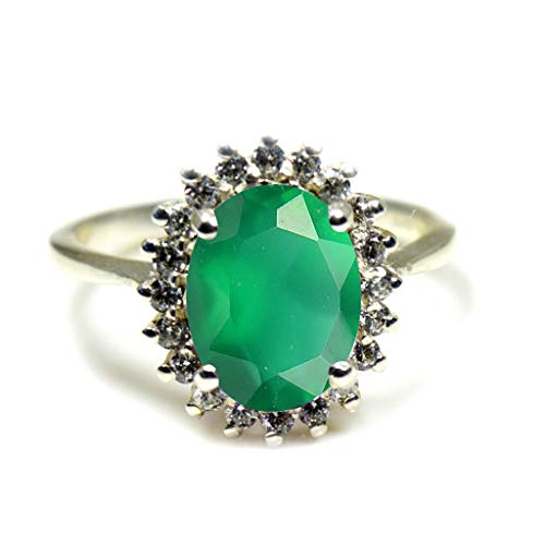 Jewelryonclick Unisex Herren Damen - Oval natürlicher, grüner Onyx