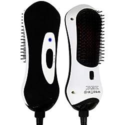 MQFORU Brosse Lissante Cheveux Ionique Professionnelle Peigne Électrique Lisseur Soufflant avec Fonction de Infrarouge Température Réglable Anti Statique Brûlure