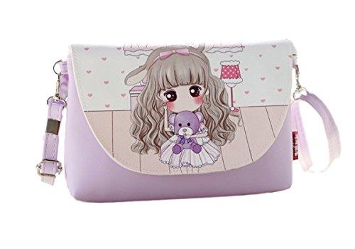Borsetta bambine e ragazze manga viola stile bambina lavanda