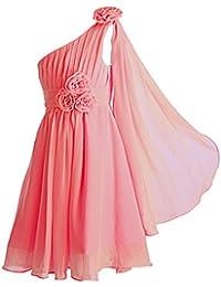 Fashion Plaza MädchensOne Shoulder Chiffon- Brautjungfer Blumenmädchen Kleid K0110