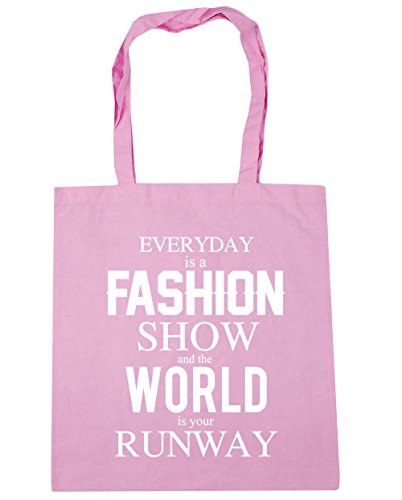 hippowarehouse Everyday ist ein Fashion Show und The World is your Runway Tote Shopping Gym Beach Bag 42 cm 38 38, 10 Liter, Classic Pink, One Size (Handtasche Stripe Pink Tote)